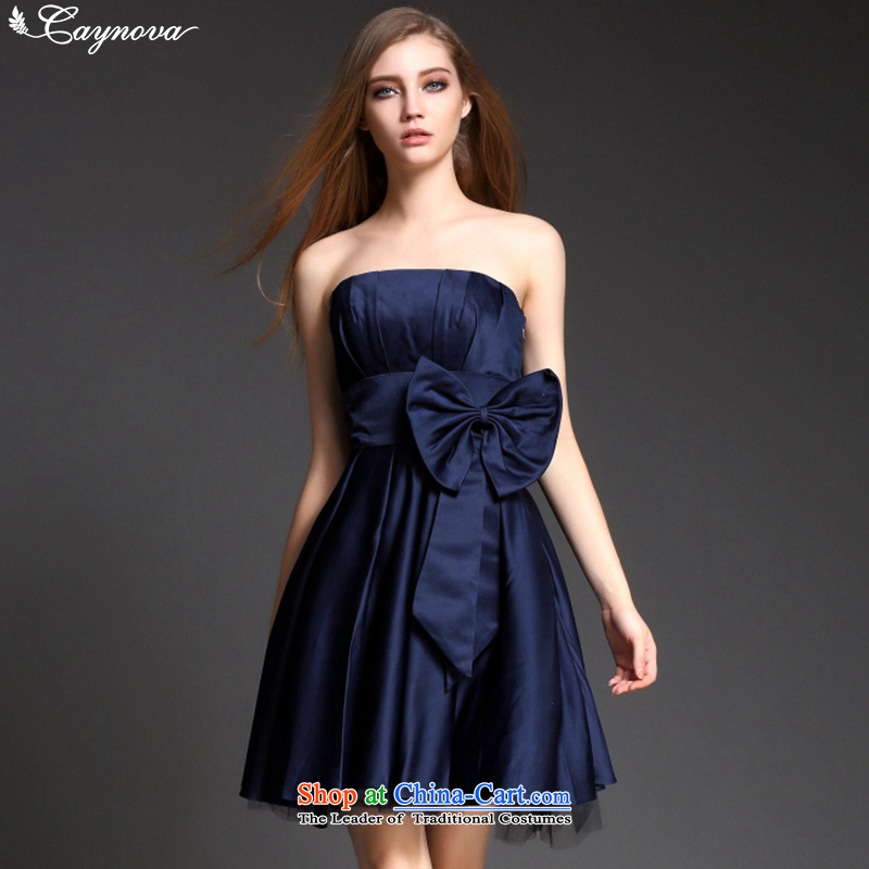 Stylish aristocratic caynova2015 gentlewoman temperament dress the Word for It skirts chest dresses dark blue?L