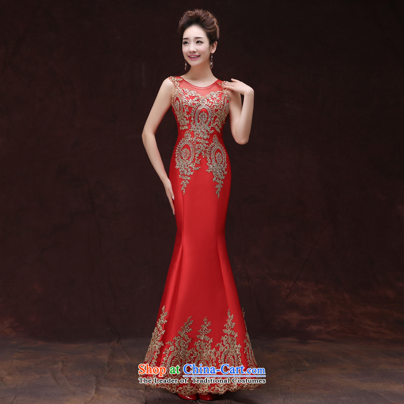 Blue dress new Word 2015 shoulder performances evening dresses long shoulders lace recite crowsfoot Sau San dress female red?S