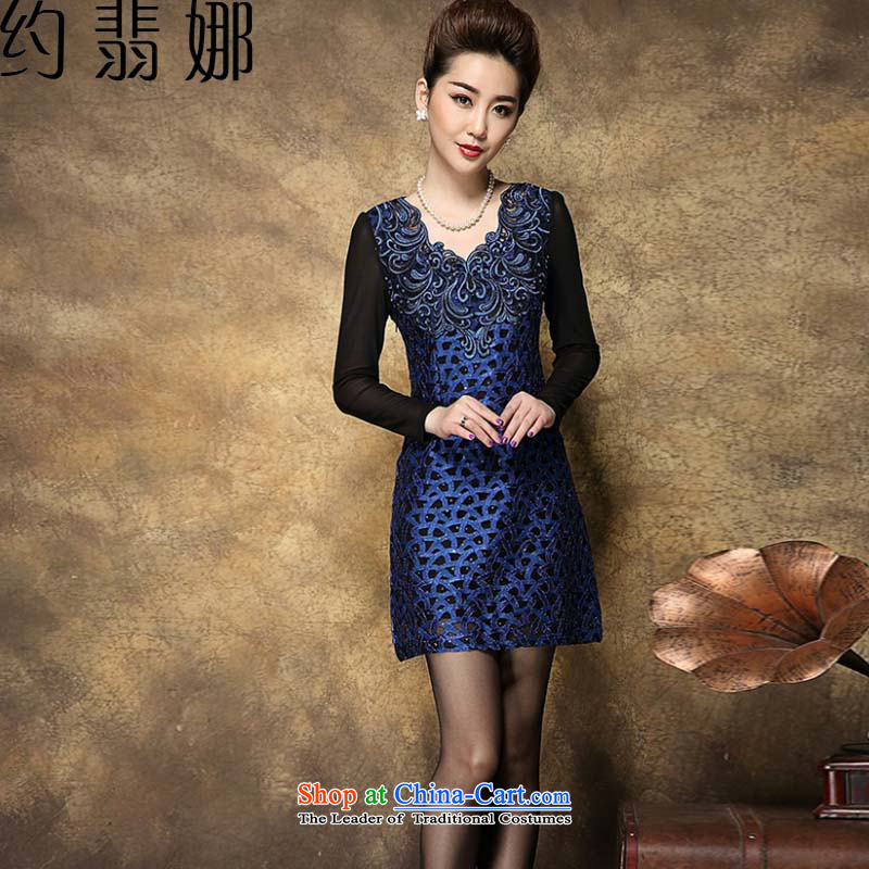 About the�2015 trendy new Phi for women spring Lace Embroidery upscale composite larger mother replacing dresses LF2021 BLUE�XL