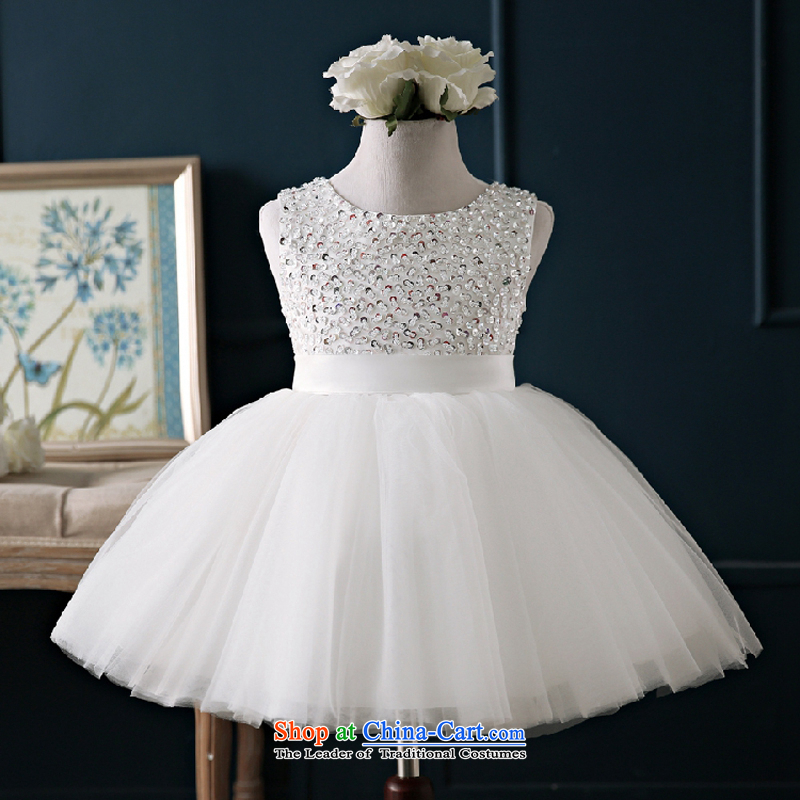 Pure Love bamboo yarn Flower Girls dress Snow White Dress bon bon skirt the day of the ceremonial dress will stage of children's wear dresses white聽90