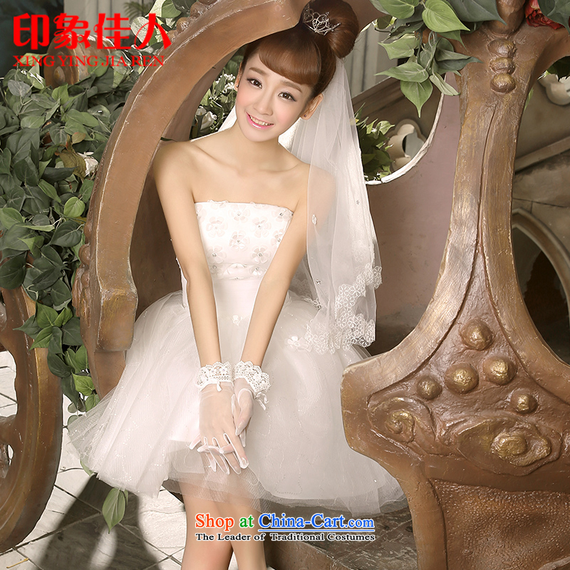 Starring impression new 2015 bridesmaid short of small dress skirt bride evening dress a field shoulder lace Princess Mary Magdalene chest skirt L053 S