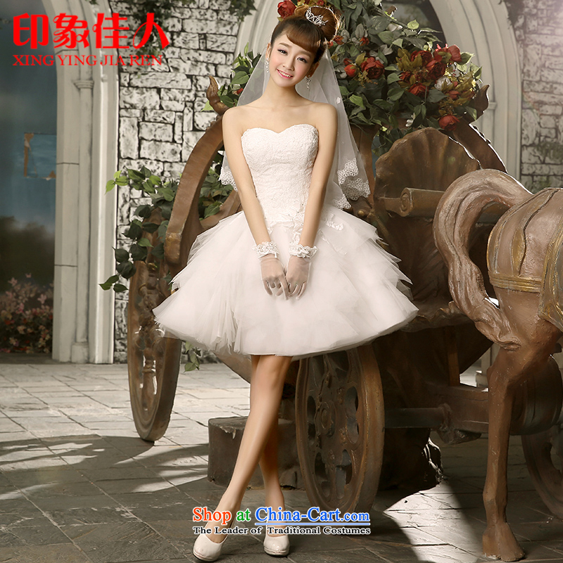 Starring impression bridesmaid dress 2015 new bridesmaid short, wipe the chest marriage stylish bows dress evening dresses retro lace princess skirt H1036 M