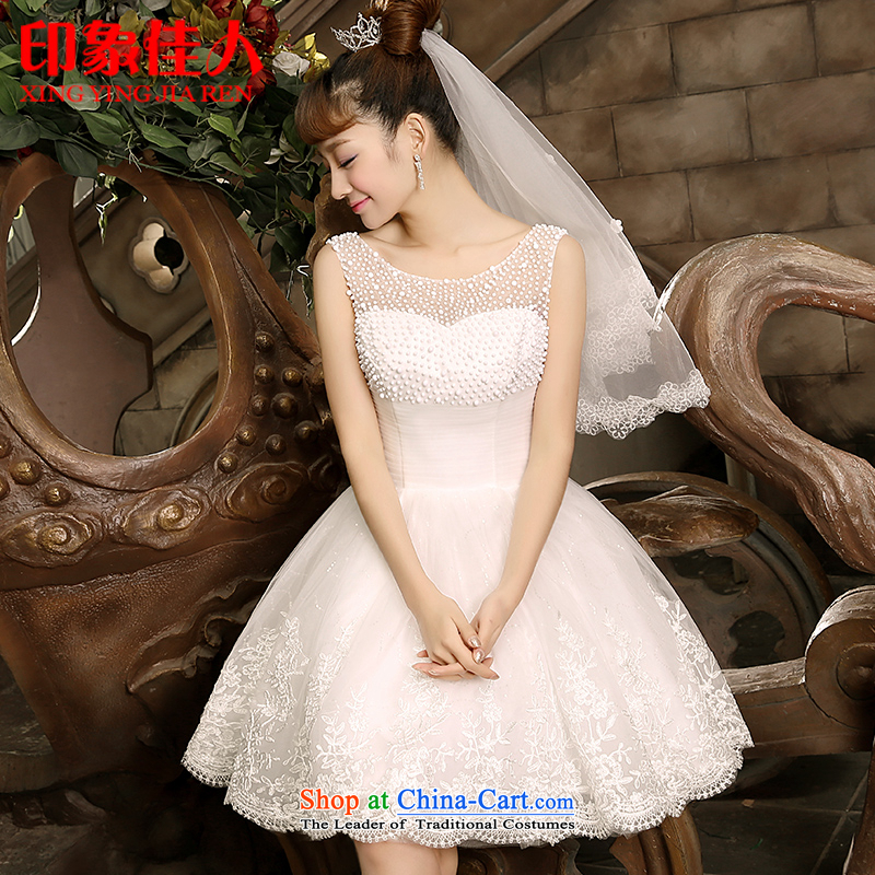 Starring impression 2015 Summer Bridesmaid Dress Short white, marriages shoulders bon bon skirt dinner drink small dress skirt H1058 S