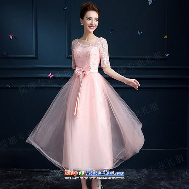Toasting champagne bride services 2015 Spring New Korean shoulders lace wedding dress in the summer bridesmaid service long evening dresses meat pink?XL
