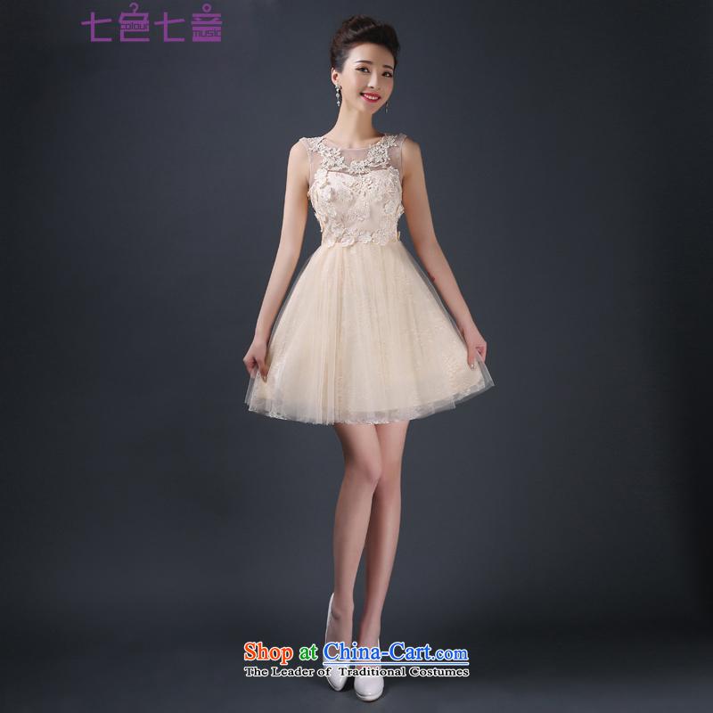 7 7 color tone?2015 new bride bows service, banquet dinner dress straps Sau San wedding dresses?L038?champagne color?M