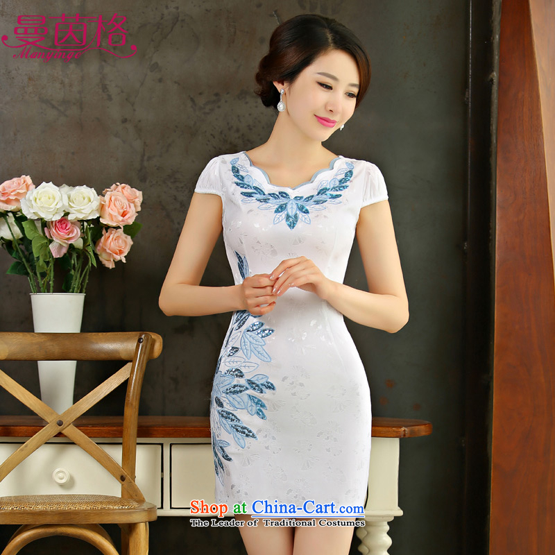 In 2015, the Cayman Athena new ethnic short of qipao dresses retro Sau San short-sleeved gown skirt female summer white S