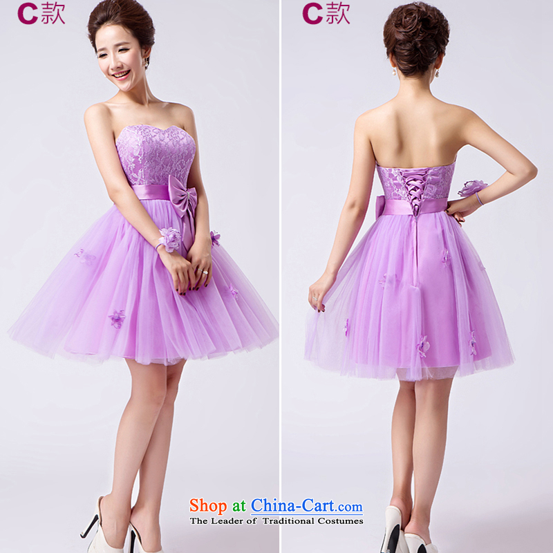 The first white into about?2015 new purple bridesmaid Dress Short_ Bride sister married in evening dress bridesmaid to serve small girl Michelle C of the dresses?L
