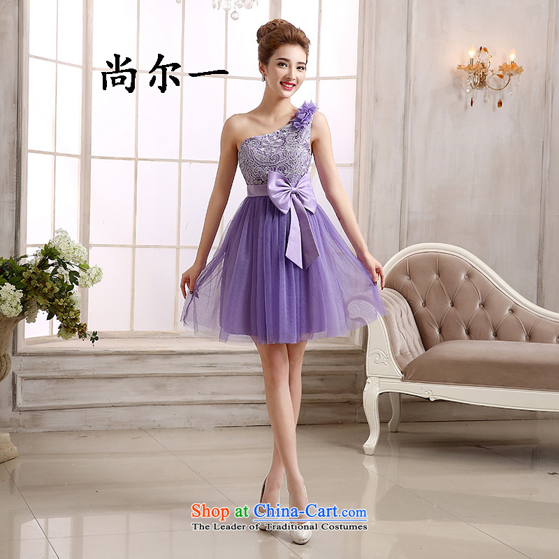Yet, a new champagne color bridesmaid short skirts sister, mission evening dresses video bridesmaid to marry thin small dress 52611 purple beveled shoulder the?burden of the xl 125-135
