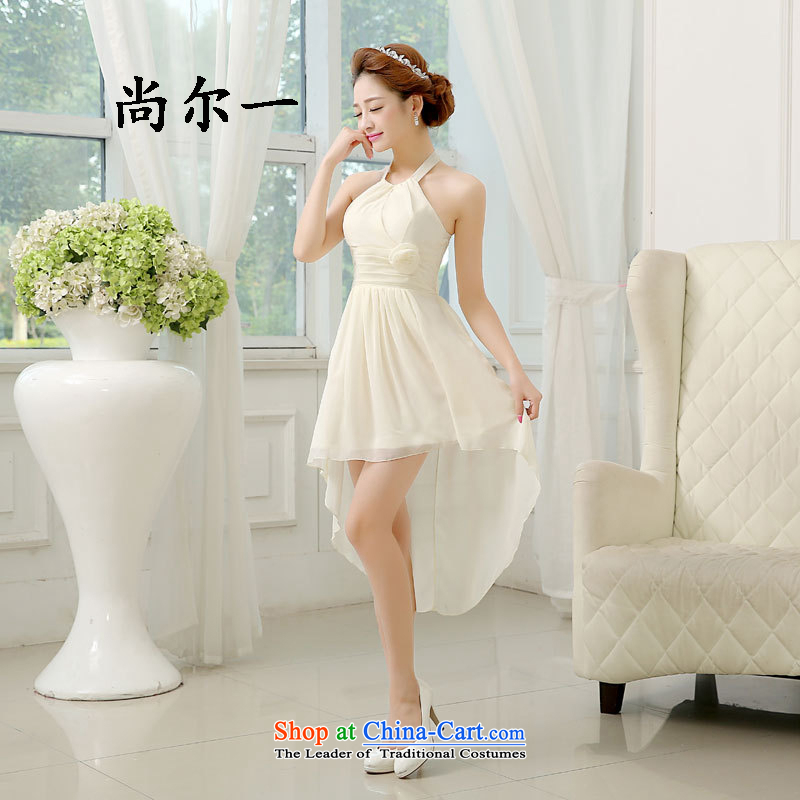 Yet, a sister in bridesmaid to serve the new summer gown skirt female short small bridesmaid skirt the bride, bows to 52612 125-135 champagne color xl catty