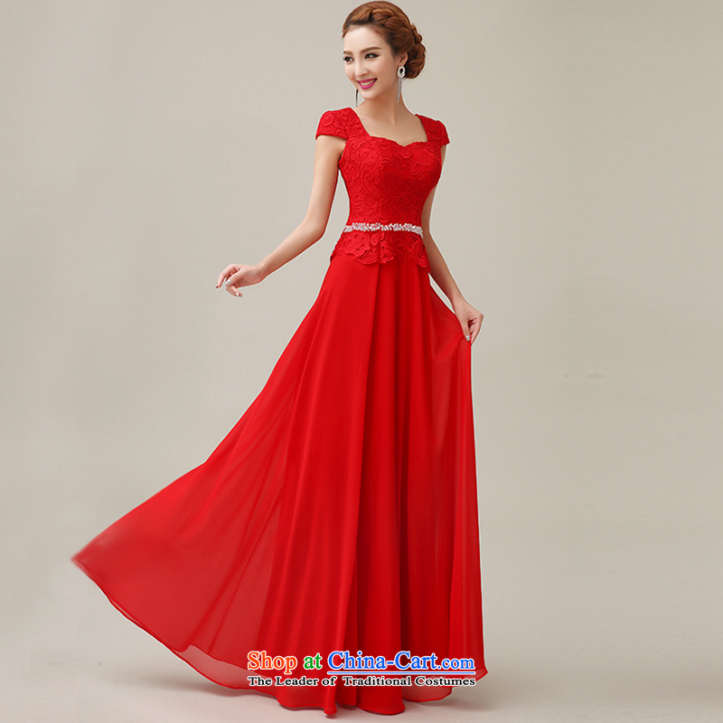 Yi Sang-wedding dresses Love 2015 Summer new bride bridesmaid wedding dress marriage evening drink served long shoulders lace red bride RED?M