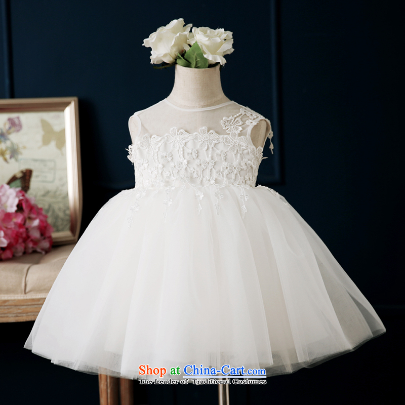 Pure Love bamboo yarn Flower Girls dress?2015 Spring/Summer new Children's dress skirt princess wedding flower girl girls show up bon bon skirt white?110CM,