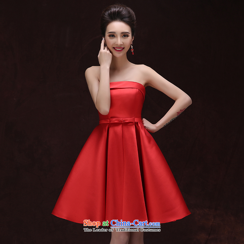 New elegant export click outside the marriage bridal dresses performance stage photography Dress Short of wedding dresses and chest satin dress red upscale?M
