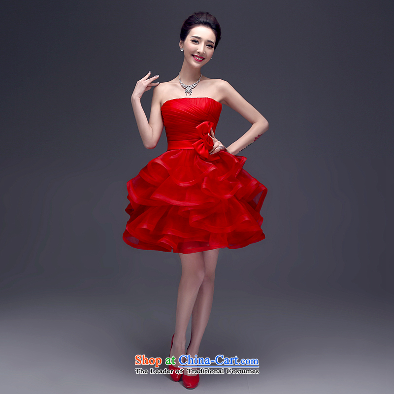 Connie?LIFU every summer 2015 new Korean short of wiping the chest champagne dress bride red marriage services banquet dress bows?004?RED?M