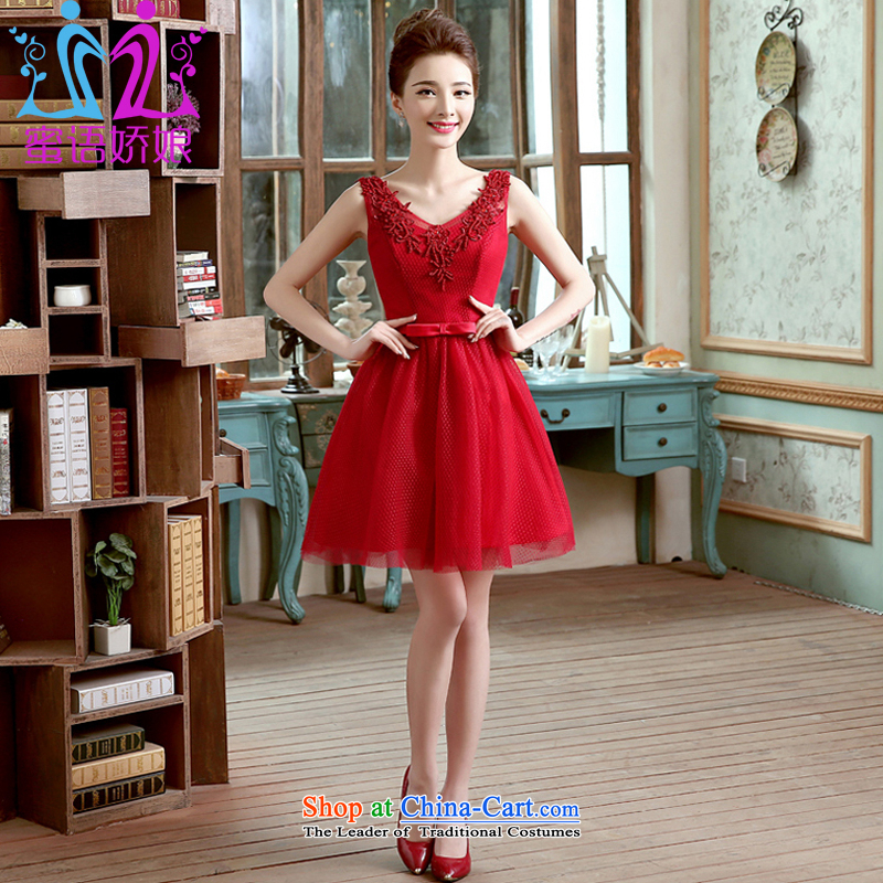 Talk to Her Little Red Dress 2015 new summer marriages bows services evening dresses V-Neck Video Korean citizenry stylish thin banquet dress dark red�XL