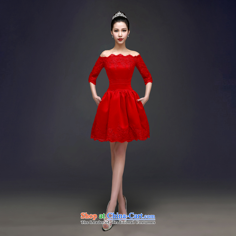 Each?new summer 2015, Connie stylish marriages red bows word services shoulder lace short-sleeved dress) female?LF0005 CHUN??S red