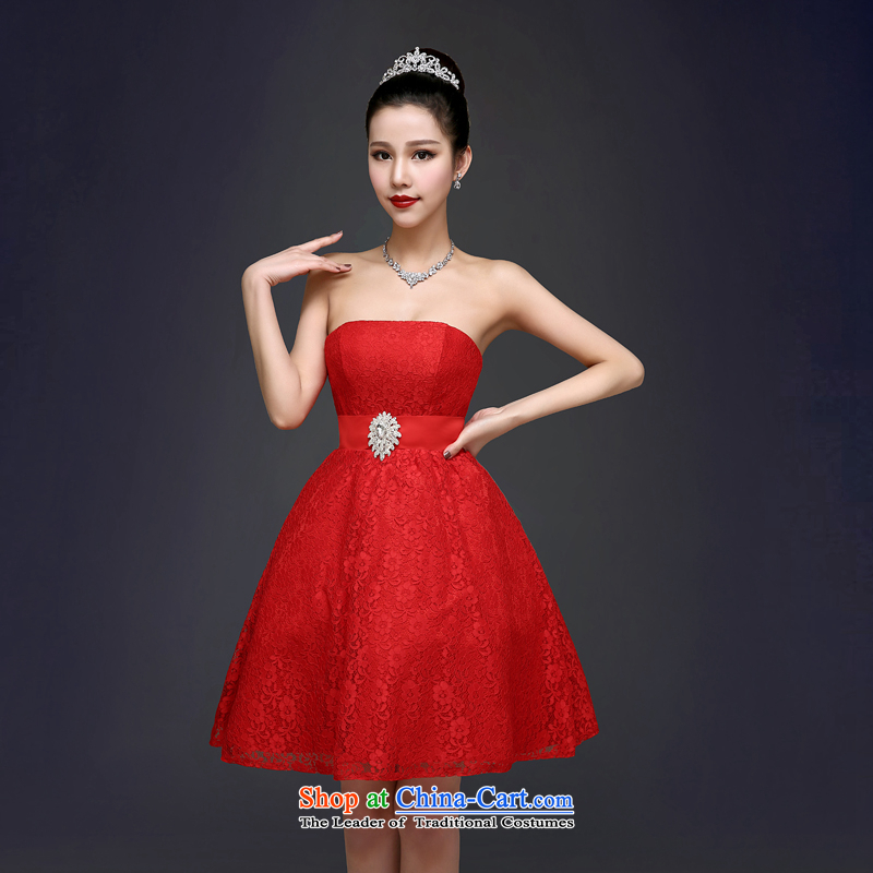 Every 2015 new toasting champagne Connie services bon bon short skirt stylish anointed chest bride dress red Wedding Dress Short, Red XXL