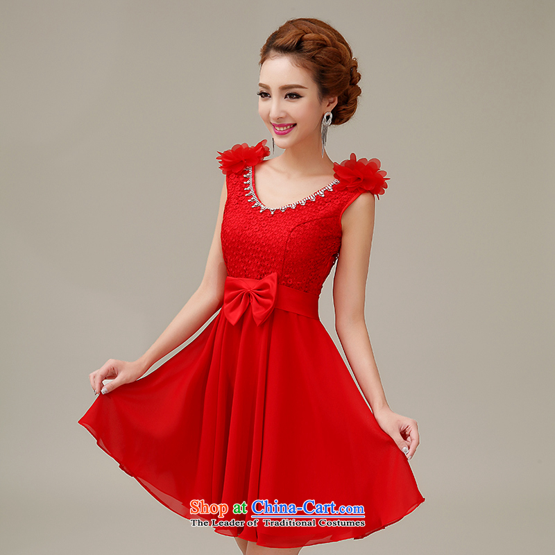 Yi Sang-  2015 summer love new bride shoulders Top Loin of pregnant women dress bridesmaid marriage bows wedding dress length of red wedding dresses short_ S