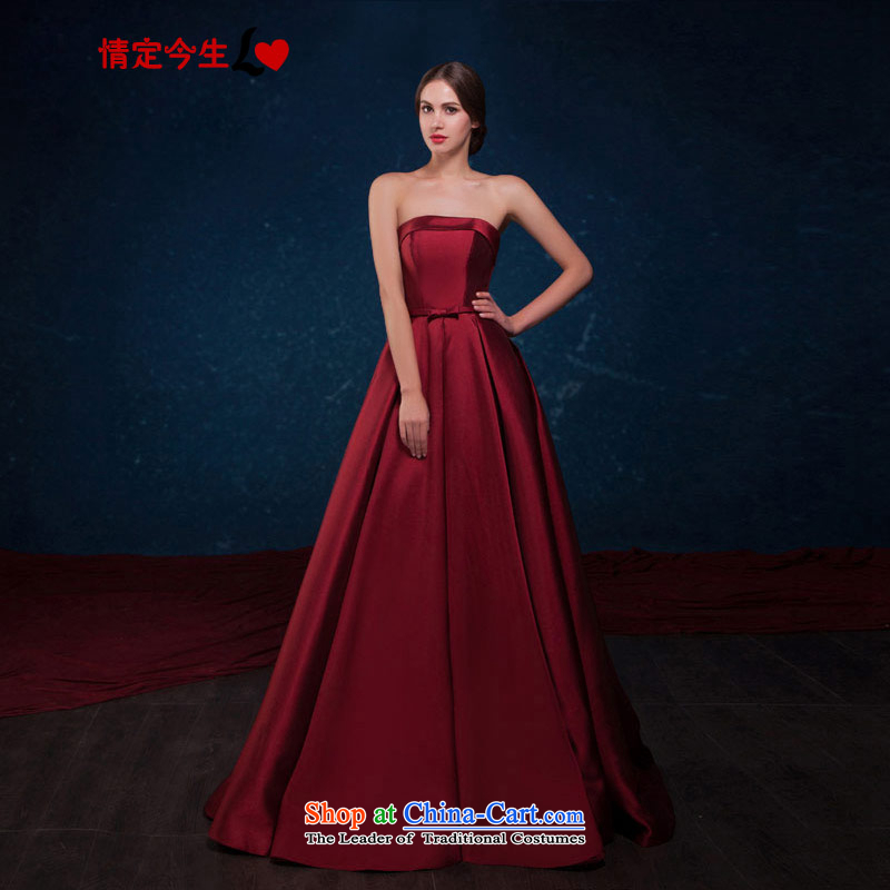 Love of the overcharged by 2015 Summer New Western Wind upscale wine red wiping the chest long Princess Bride toasting champagne wedding dress uniform dresses XXXL wine red
