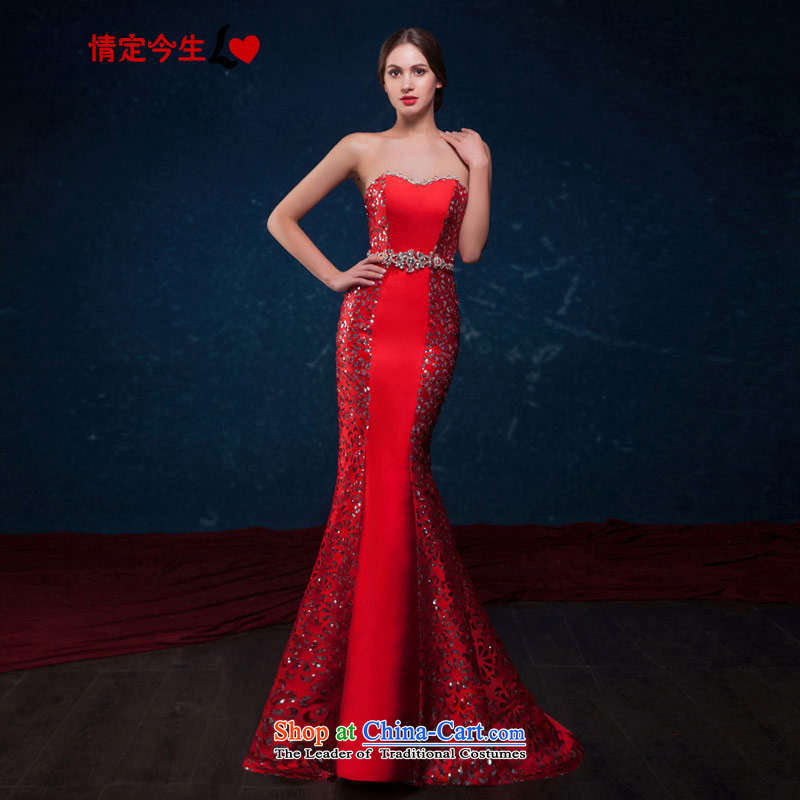 Love of the overcharged by 2015 a new summer, Sau San crowsfoot red patterned engraving anointed chest diamond sexy back tail evening dresses bride bows service wedding dress red tailor-made exclusively concept Message Size