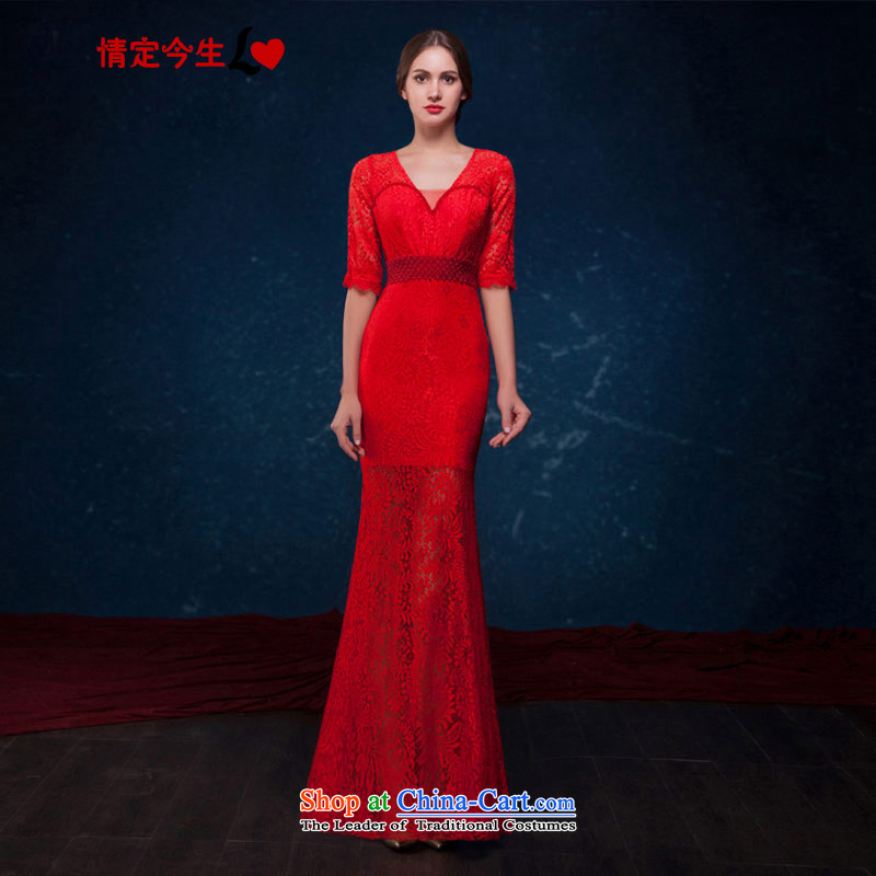 Love of the overcharged by 2015 Summer new red lace crowsfoot dresses and sexy V-Neck fifth cuff evening banquet wedding dress bride bows services red?L