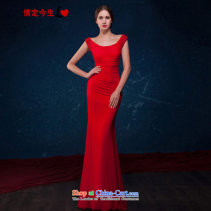 Love of the overcharged by 2015 Summer new bride bridesmaid video thin nail Pearl Sau San crowsfoot dress banquet moderator wedding dress bows services red�L