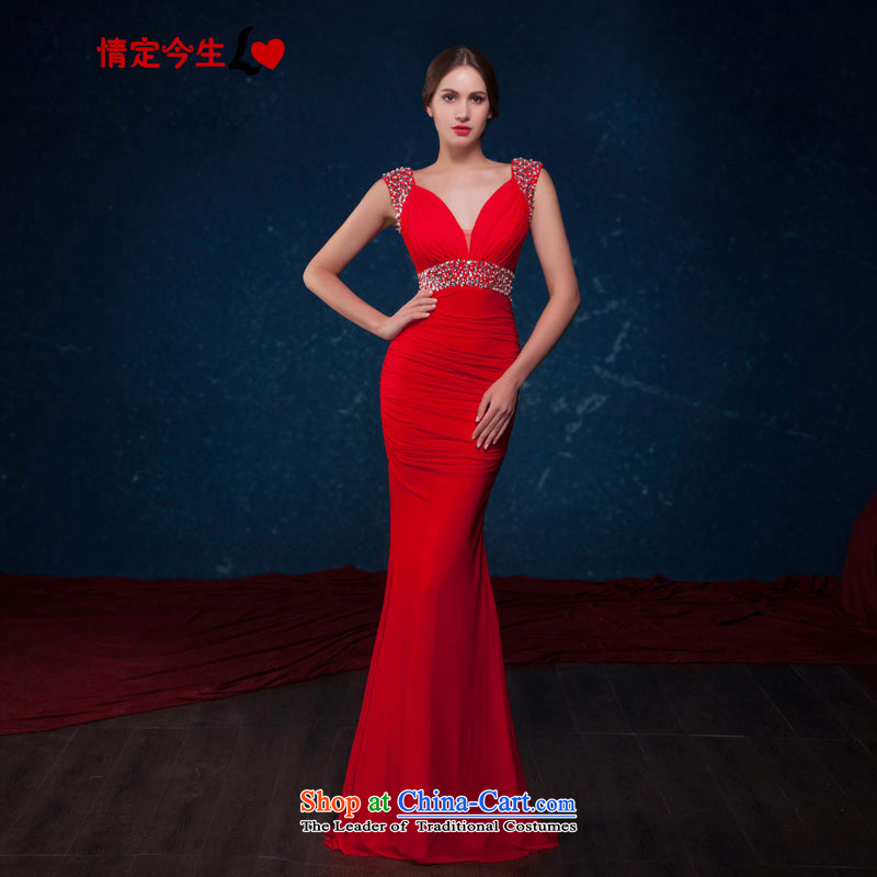 Love of the life of a new summer of 2015 fashionable deep V-Neck crowsfoot video thin red brides Sau San bows service banquet evening dresses made red message size is designed concept