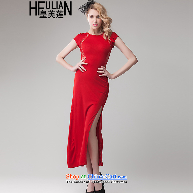 Non-proscribed?fall 2015, Lin Hsien thin sexy wrapped his chest terrace waist gauze lace stitching side of the forklift truck package and dress skirt long skirt?1002?Red?S