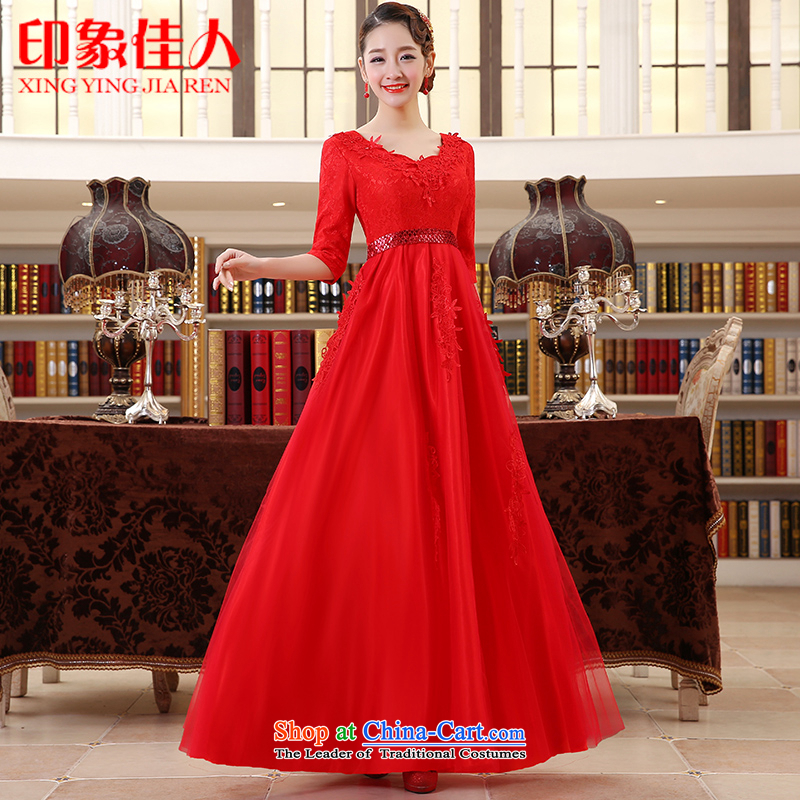 Starring impression wedding dresses 2015 new marriages bows service long red dress evening L2039 S
