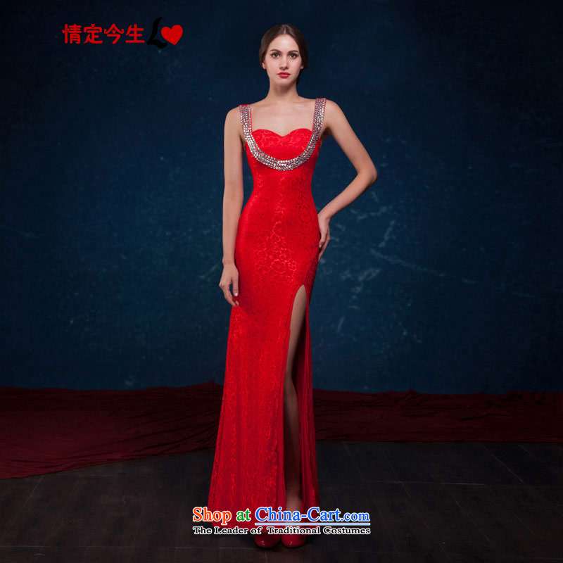Love of the overcharged by 2015 a new summer up lace diamond straps and sexy the forklift truck crowsfoot dress bride bows services RED?M