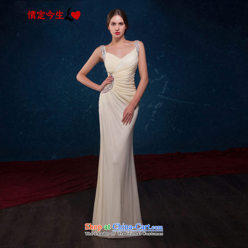 Love of the overcharged by 2015 a new summer stylish Sau San crowsfoot video thin sexy straps diamond long gown champagne color bridesmaid to dress bows serving champagne color make the concept of message size is designed