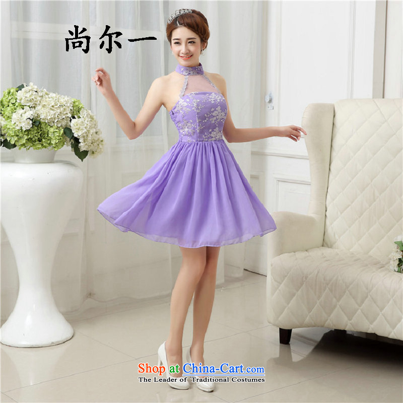 Naoji bridesmaid mission a dress short skirt small dresses, sister summer Korean bridal dresses bows to Sau San5277 light purple are code