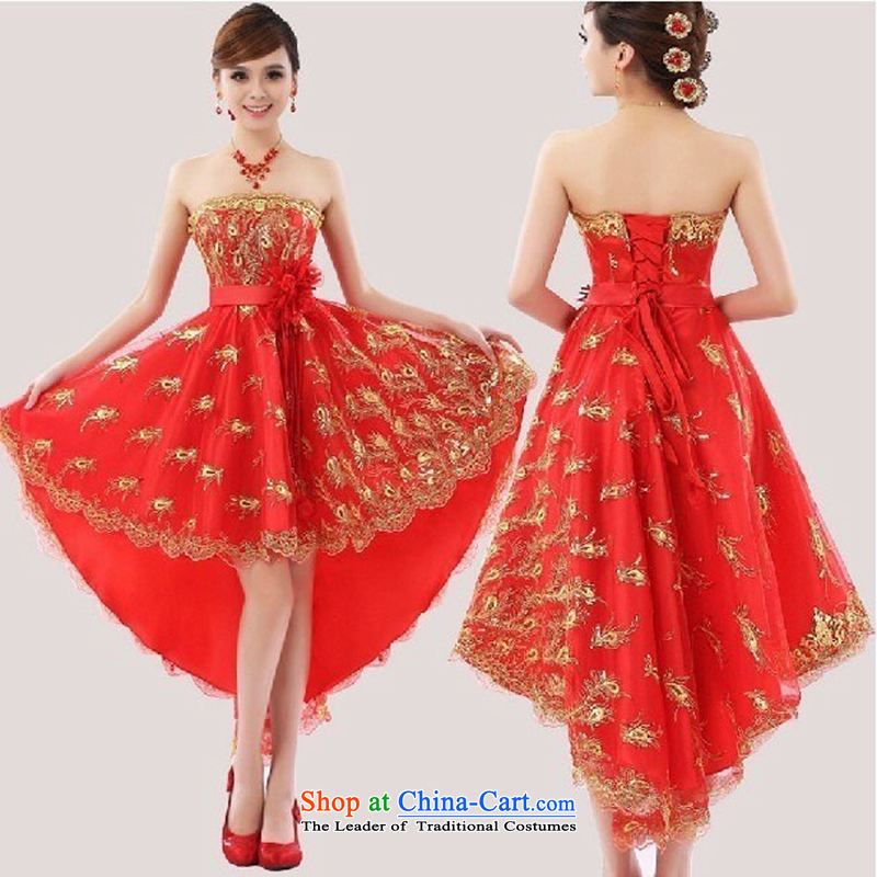 Slender legs fine lace dress the new bride wedding dress stylish bows services before long after short red Korean qipao gown wedding pregnant women can penetrate anchovy spend anointed chest, tailored to customer service contact