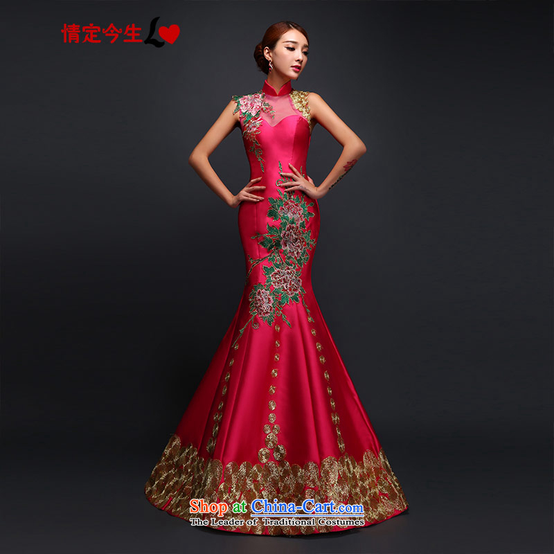 Love of the overcharged retro Sau San embroidering a crowsfoot dress shoulder field new dresses long bride bows services red?XL