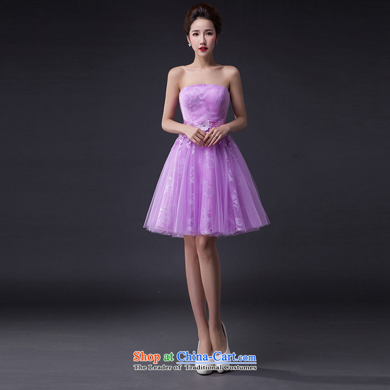 Hei Kaki wedding dresses 2015 new stylish Korean version of the Princess Bride and chest straps short of the irrepressible bon bon skirt bridesmaid JX01 serving a light purple XXL