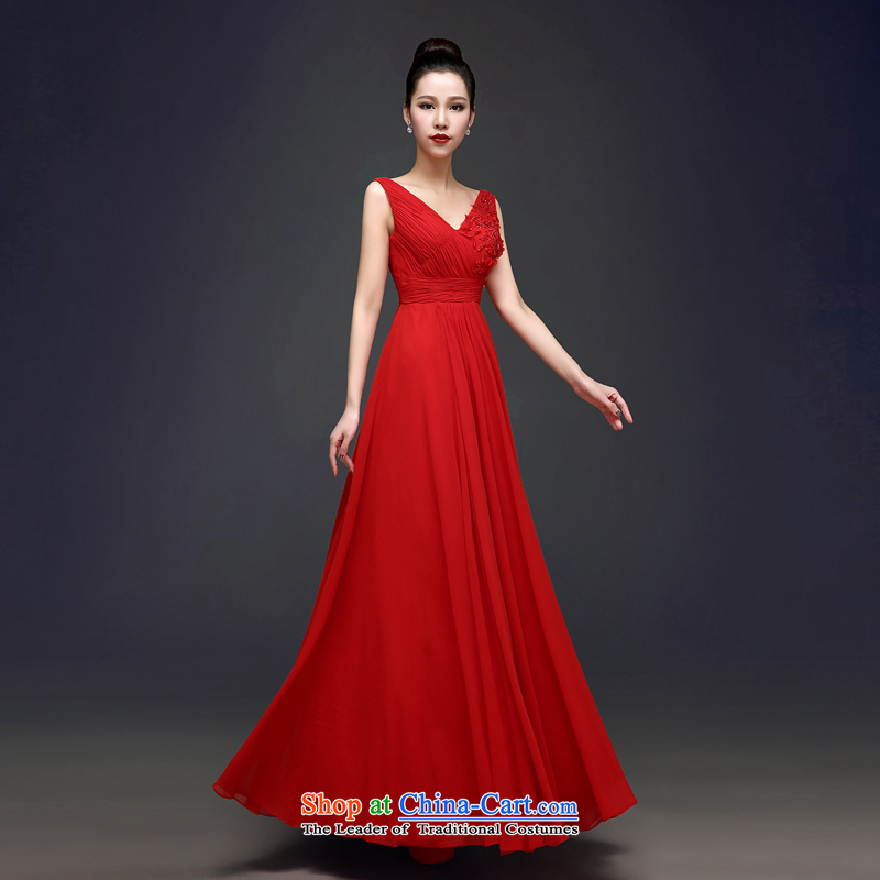 Each red bows to the bride Connie dress long聽summer 2015 New 2 V-Neck video thin shoulder straps wedding dress聽0006聽Red tailored does not allow