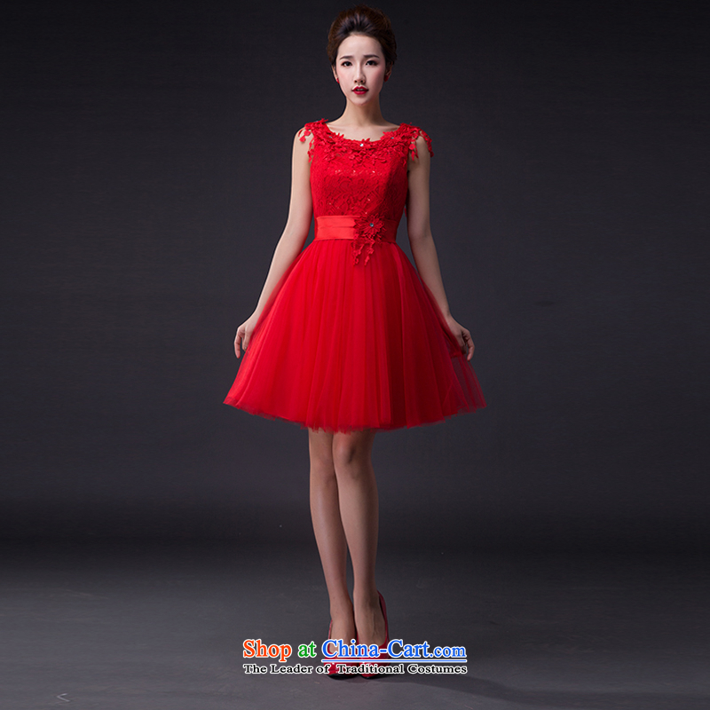 Hei Kaki wedding dresses 2015 new shoulder Korean Princess Bride wiping the chest straps short of the irrepressible bon bon skirt bridesmaid JX02 RED?XS services