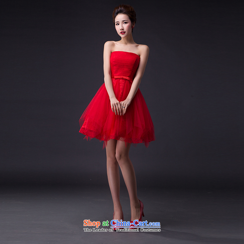 Hei Kaki wedding dresses 2015 New Classic Korean Princess Bride wiping the chest straps short, only the lap bridesmaid JX04 services red?XXL