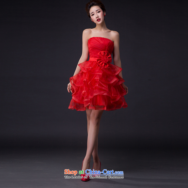 Hei Kaki wedding dresses 2015 new sexy Korean version of the Princess Bride and chest straps short of an irrepressible flowers bridesmaid JX06 RED?XS services