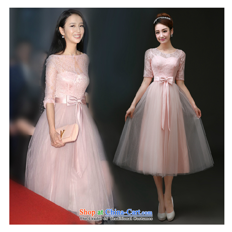 The first white into about�2015 Short bridesmaid services) bows to married women summer gown banquet evening dresses moderator dress, Julia. With the girl, pink�L