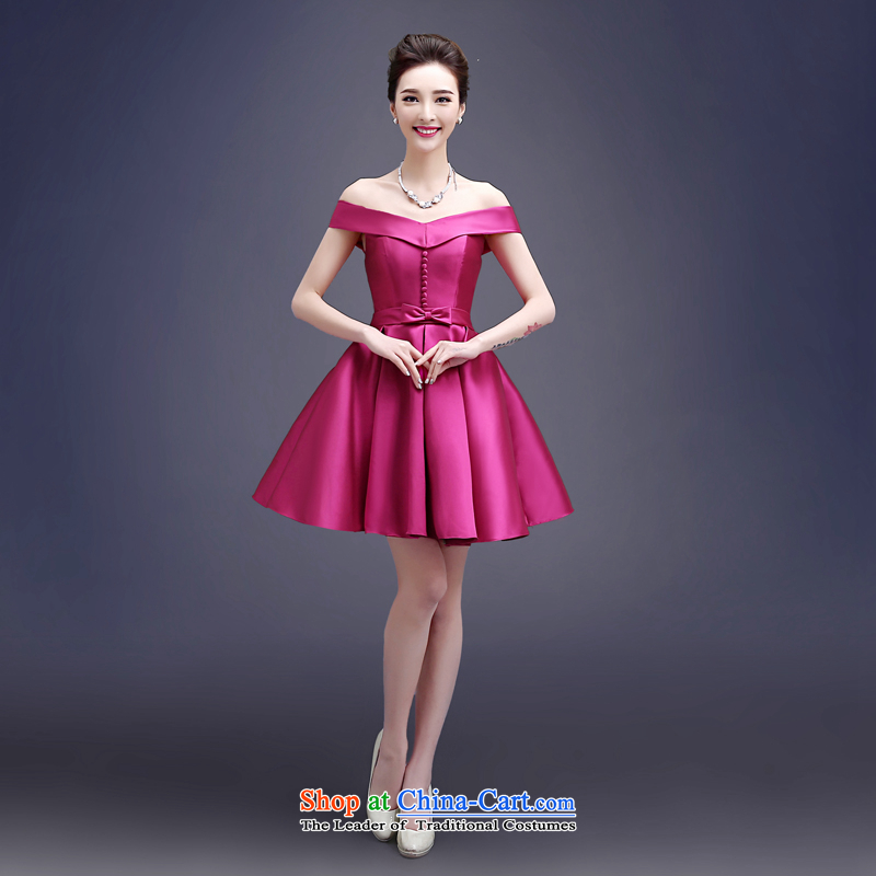 Connie a wedding every field shoulder evening dresses?2015 new short, Mr Ronald brides banquet bows to tie the chairpersons of Female dress red?XXL