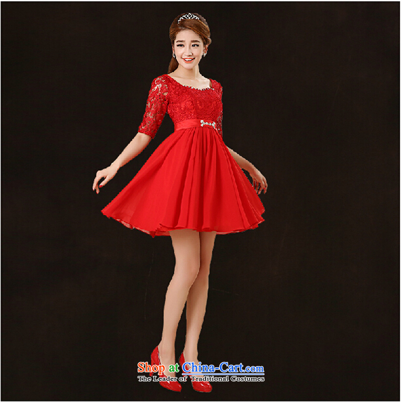 Pure Love bamboo yarn 2015 new marriages red lace dress long evening dresses evening drink service in the irrepressible red short-sleeved gown of    �L