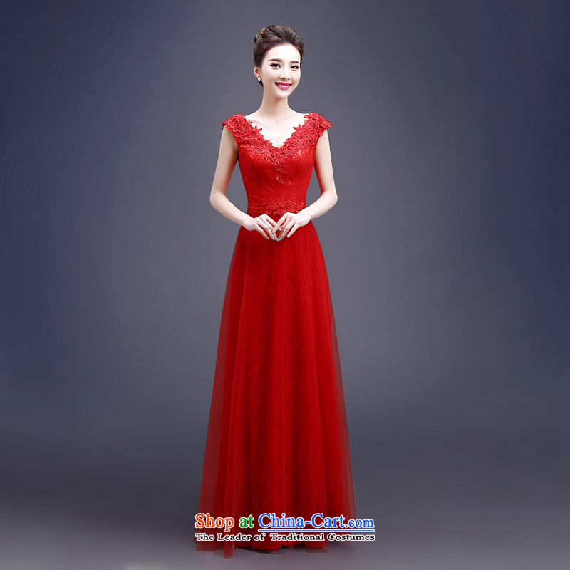 Each red bride bows services Connie Summer Spring 2015 new long stylish shoulder straps lace video thin wedding dress female聽LF聽RED聽XL