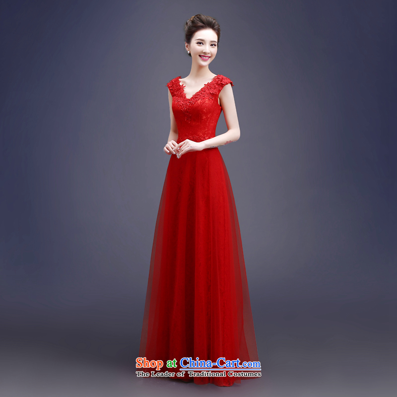 Each red bride bows services Connie Summer Spring 2015 new long stylish shoulder straps lace video thin wedding dress female聽LF聽RED聽XL, every stephanie (JIAONI) , , , shopping on the Internet