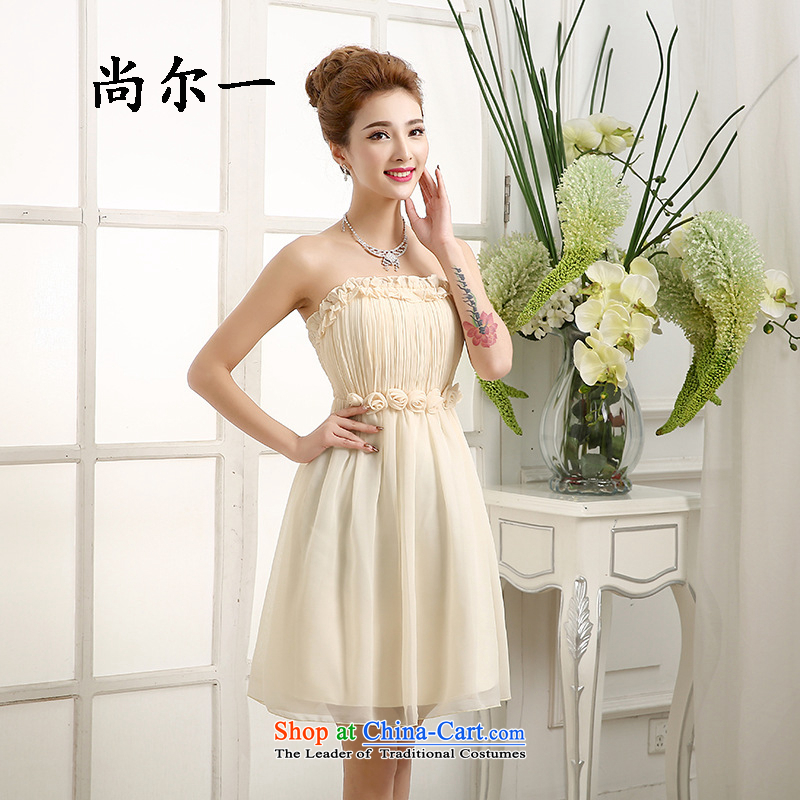 Yet, a new paragraph bon bon skirts and Chest Flower Wedding Bridal Services marriage bows small Dress Short bridesmaid evening, 5283 champagne color are code