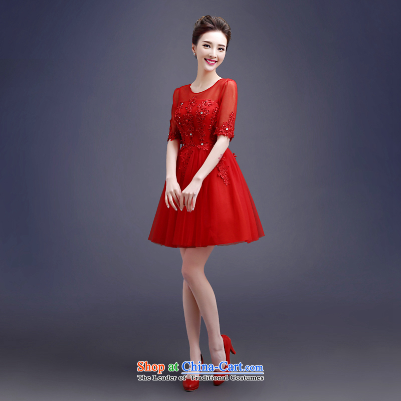 Every?2015 new toasting champagne Connie Service Bridal short of summer bon bon skirt wedding dress in red sleeve shoulder for the first field graphics thin female RED?M