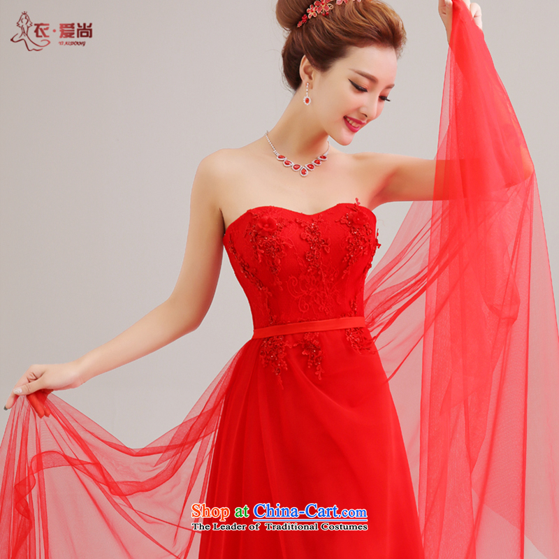 Yi is the new 2015 Love stylish anointed chest lace dress brides Sau San wedding dress red bride bows services long red�XXL
