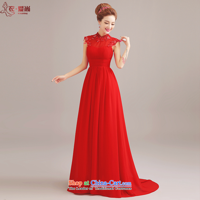 Yi Sang-wedding dresses Love�2015 new marriages toasting champagne evening dress uniform long round-neck collar align shoulders in evening dress female red can be made plus $30 Does Not Return