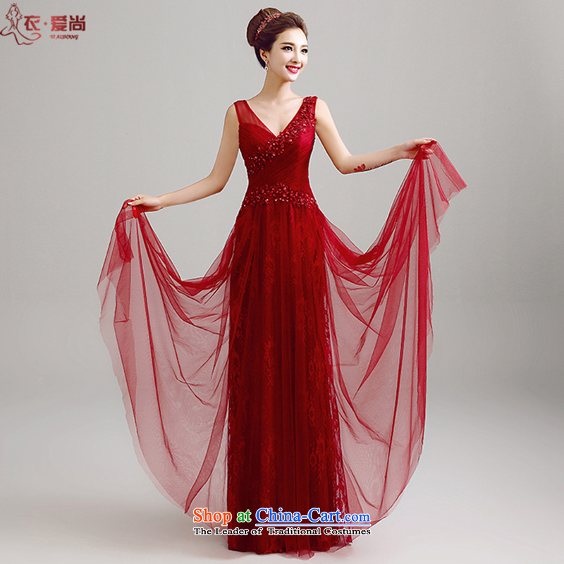 Yi Sang-wedding dresses Love 2015 Summer new Korean shoulders and sexy deep V-Neck marriages bows service banquet evening dresses wedding dress long female wine red can be made plus _30 Does Not Return