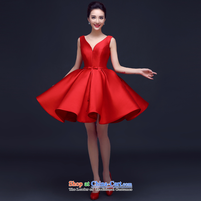Evening dress Summer 2015 Red shoulders bows married women to dress deep V graduated banquet Dress Short, Red?L