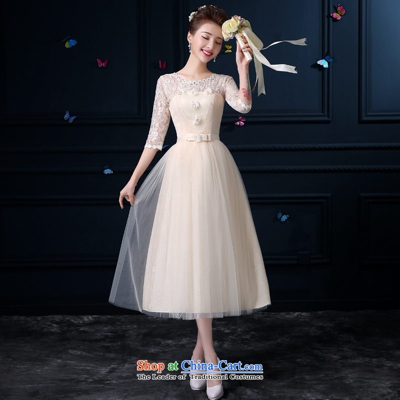 The privilege of serving-leung bridesmaid services Ms. dress dresses and sisters mission bridesmaid dress skirt 2015 new evening dresses round-neck collar chest with flowers -- sleeved S